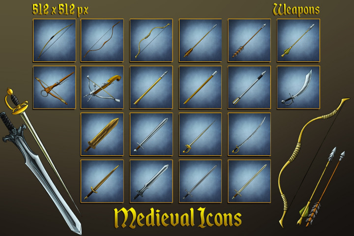 medieval-icons-swords-bows-arrows-and-bolts