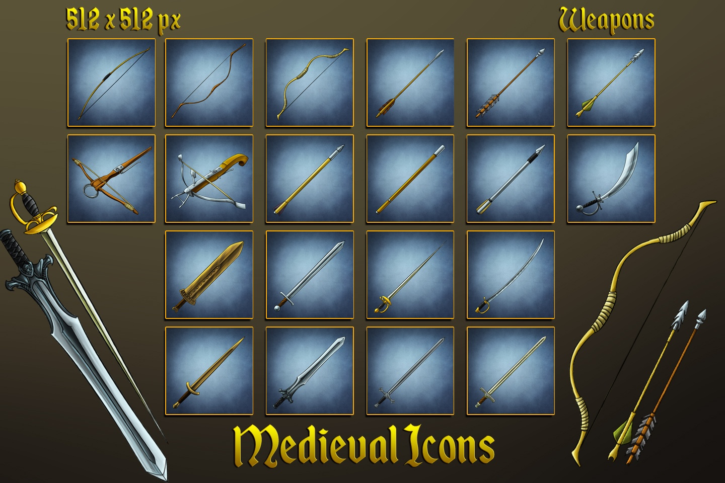 Medieval Icons: Swords, Bows, Arrows and Bolts