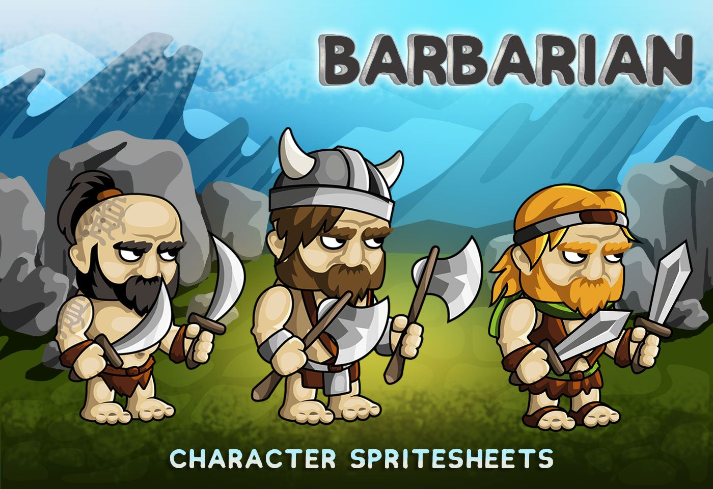 2D Fantasy Barbarian Character Sprite