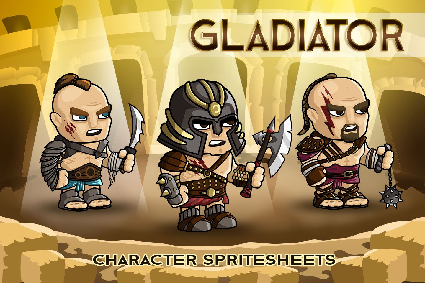 2D Fantasy Gladiator Character Sprite