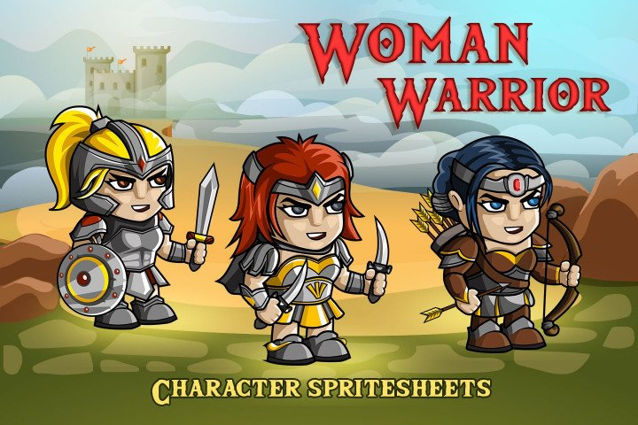 2D-Fantasy-Woman-Warrior-Free-Sprite-Sheets