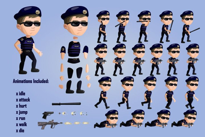 2D-Game-Police-Character-Free-Sprite-Sheets