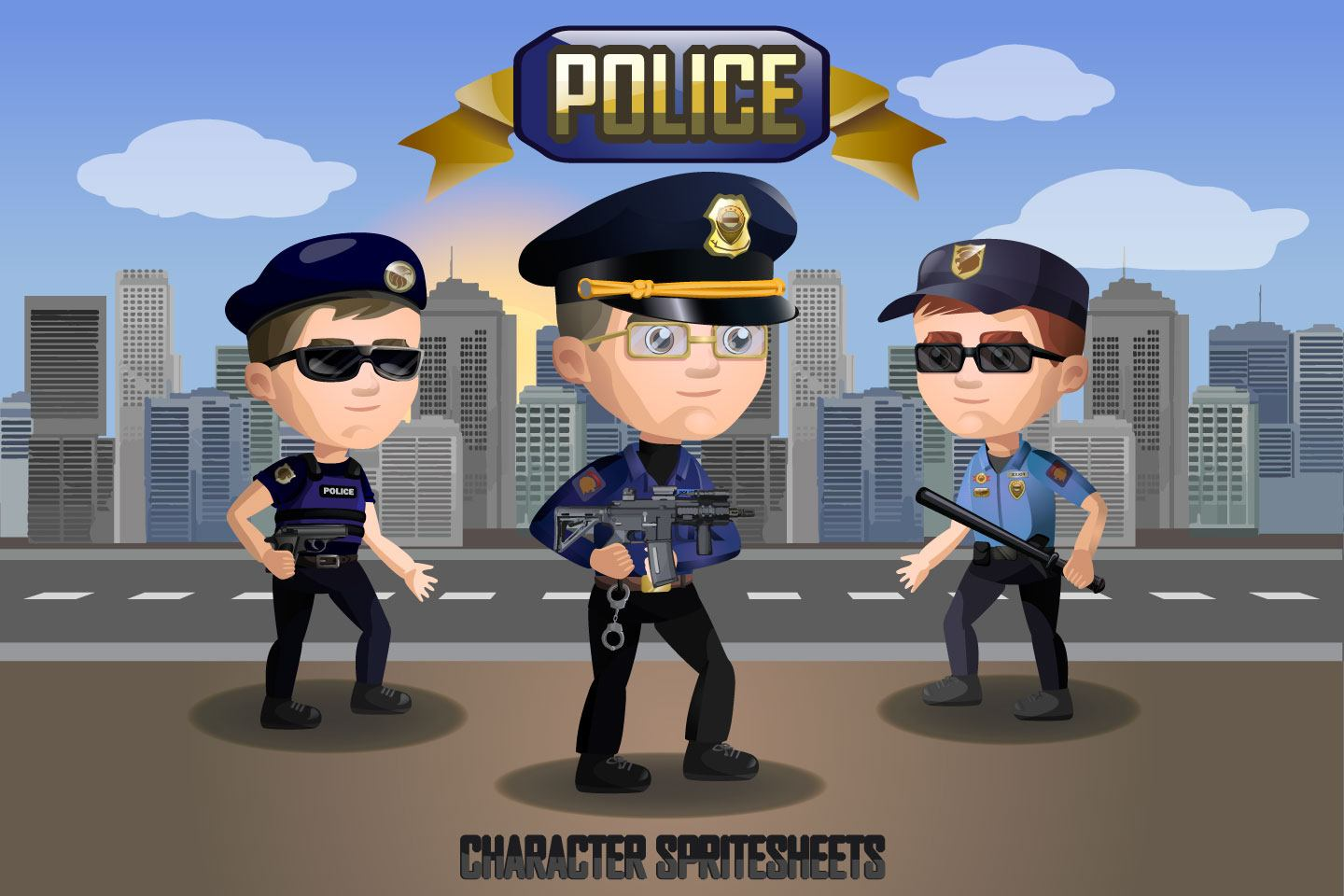 2D Game Police Character Free Sprite Sheets