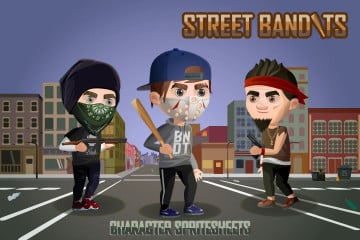 2D Game Street Bandits Character Sprites Sheets