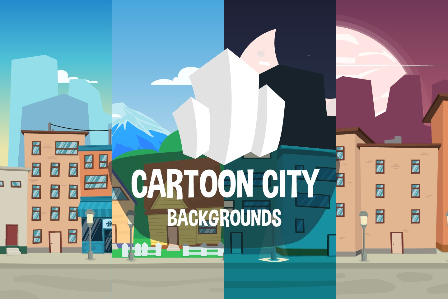 Cartoon City 2D Backgrounds