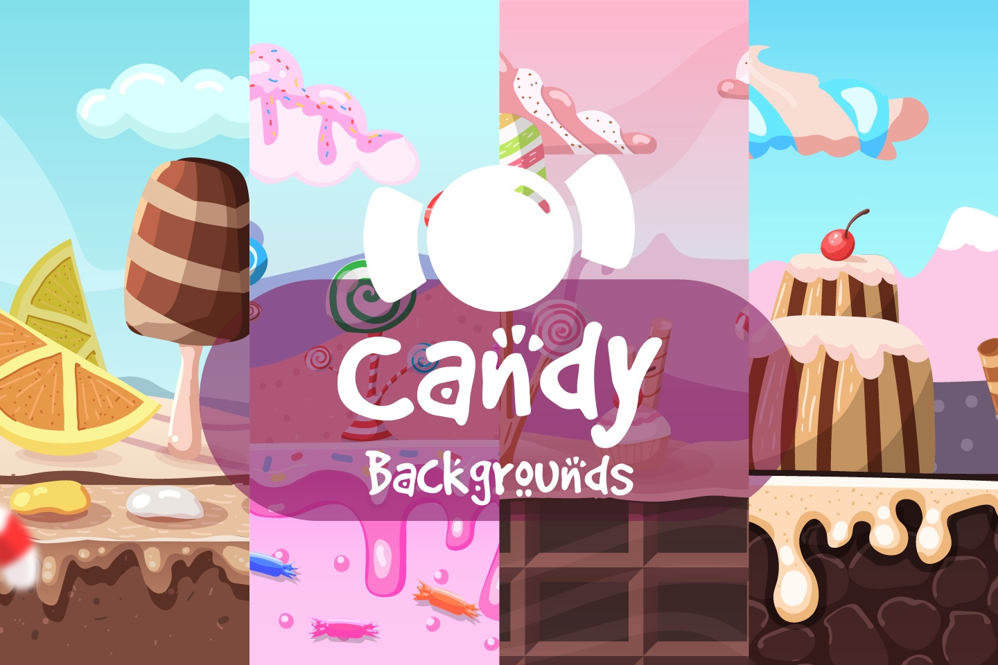 Candy 2D Game Backgrounds