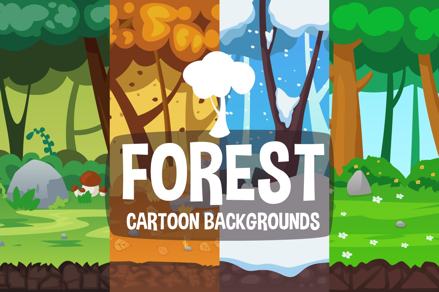 Cartoon Forest 2D Backgrounds