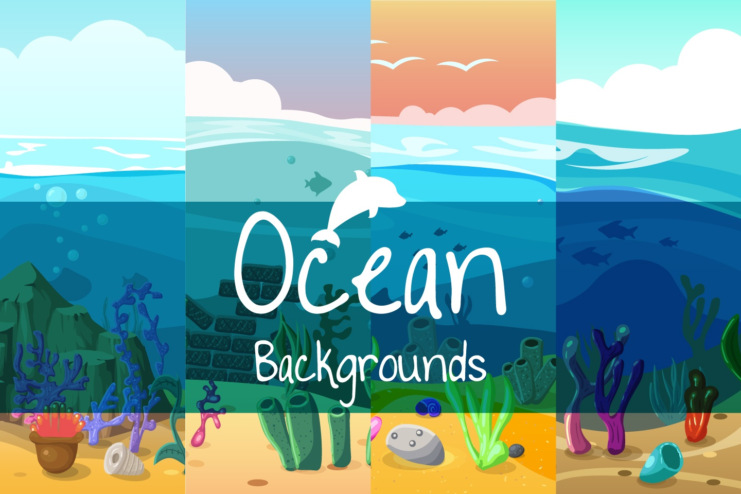 Ocean 2D Game Backgrounds