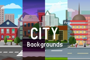 Parallax Scrolling City Game Backgrounds
