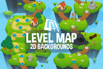 Level Map 2D Game Backgrounds