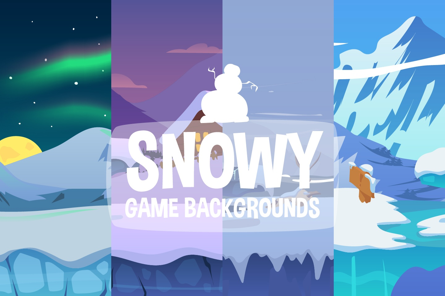 Snowy 2D Game Backgrounds
