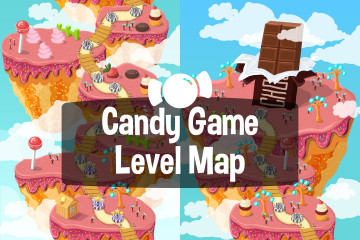 Candy Game Level Map Backgrounds