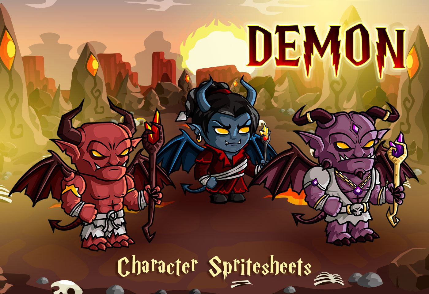 2D Fantasy Demon Character Sprites