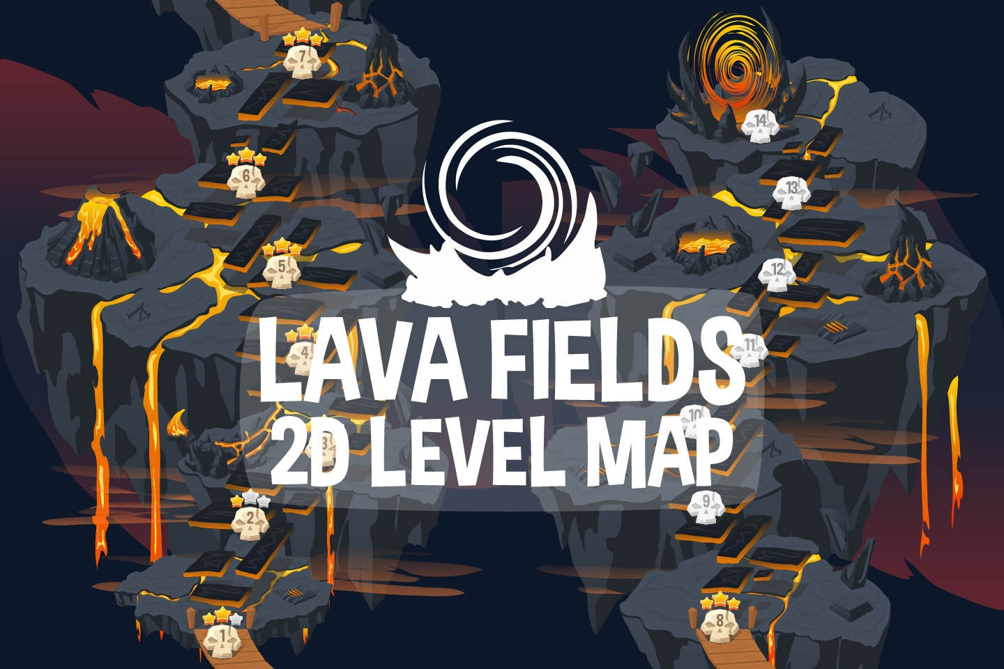 Free Lava Fields Level Map 2D Backgrounds