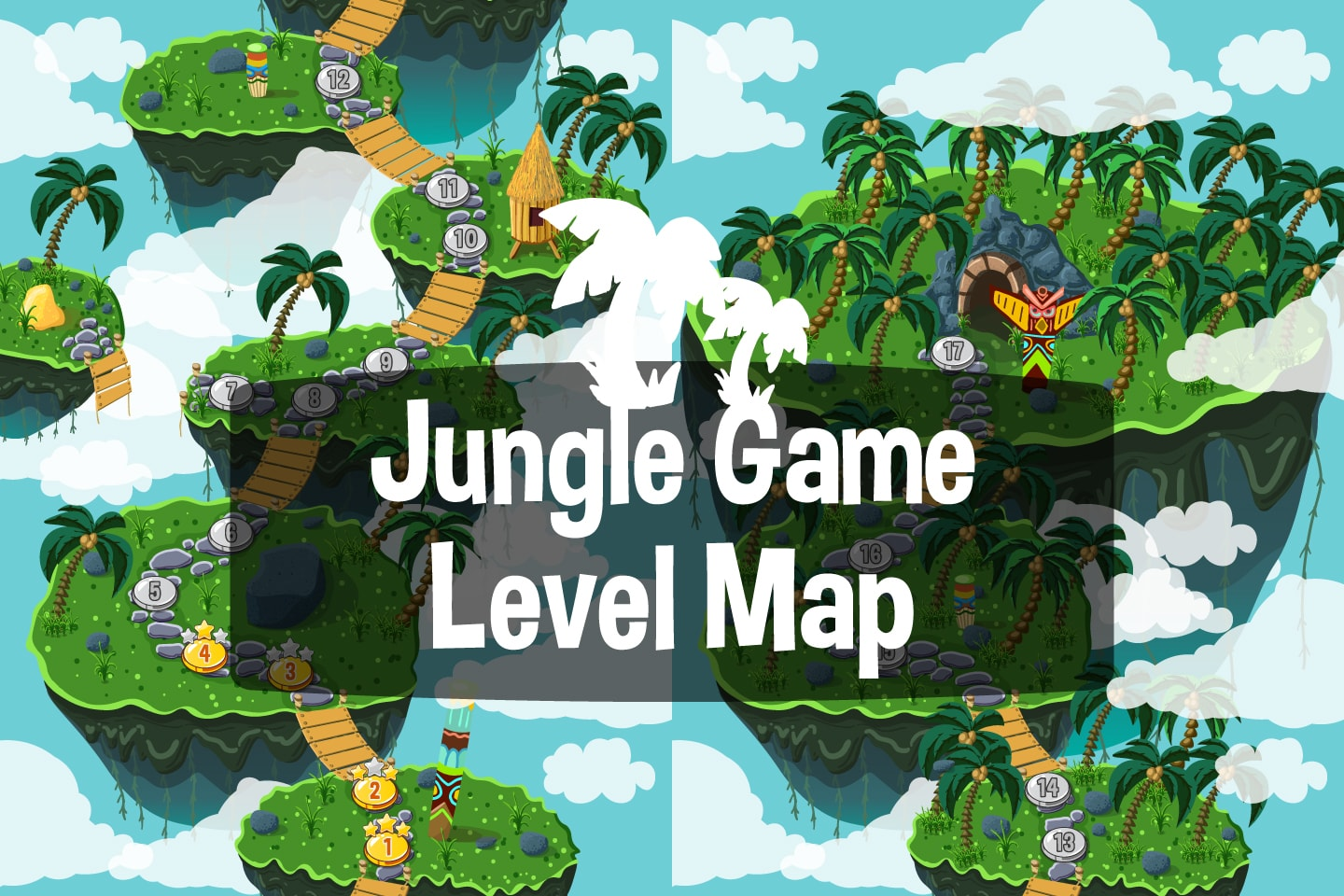 Jungle Game Level Map Backgrounds