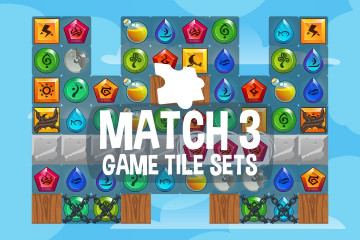 Match 3 Game Tile Set