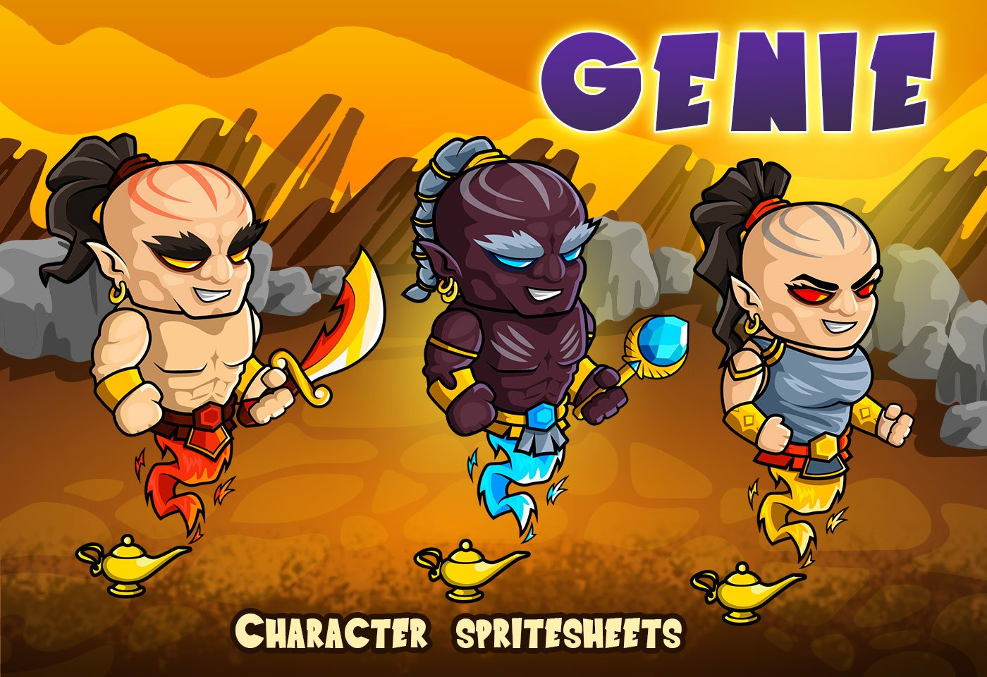 2D Fantasy Genie Character Sprites