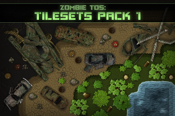 Zombie TDS Tilesets: soil, stones, plants, water, destroyed cars