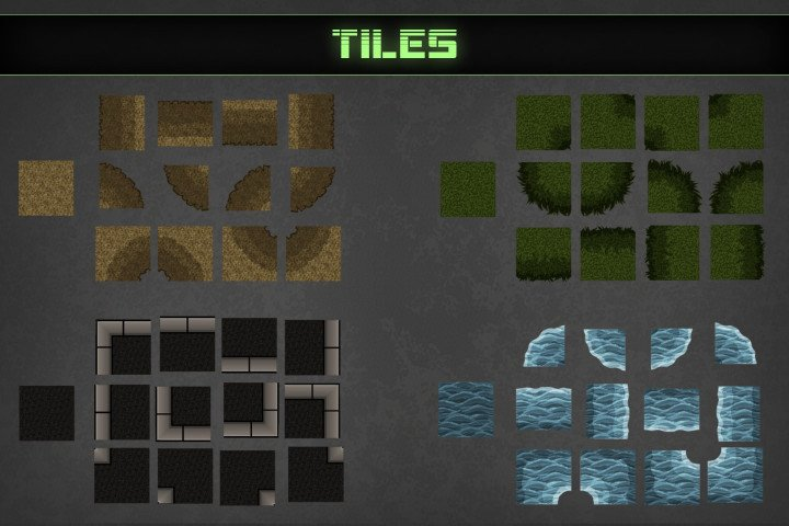Zombie-TDS-Tilesets-soil-stones-plants-water-destroyed-cars