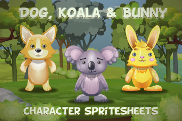Dog, Koala and Bunny 2D Game Sprites