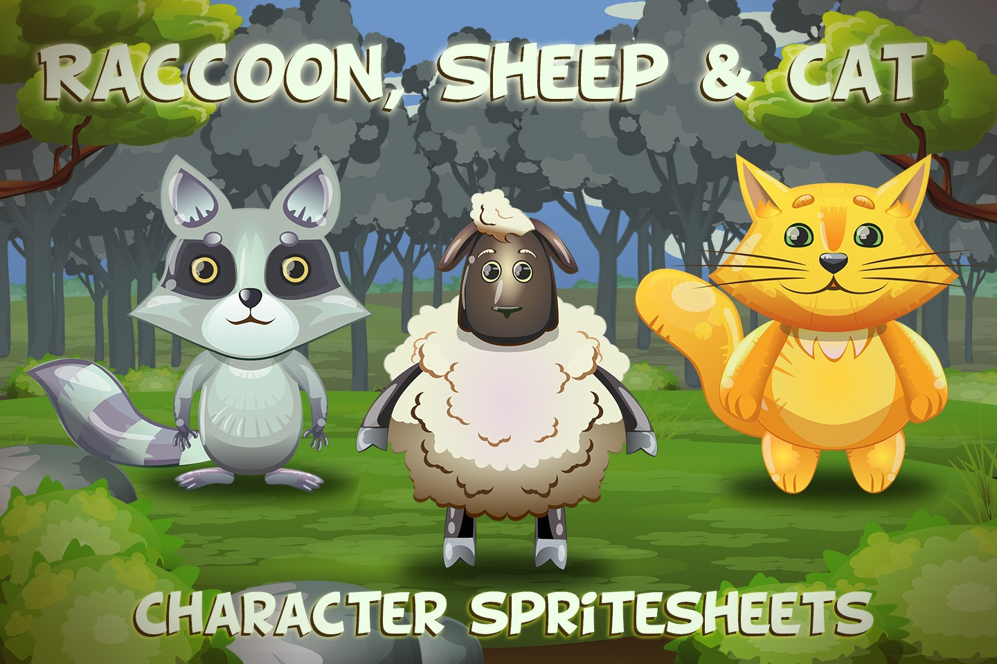 Raccoon, Sheep and Cat 2D Game Sprites