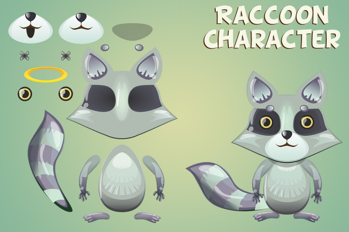 Raccoon-Sheep-and-Cat-2D-Game-Sprites
