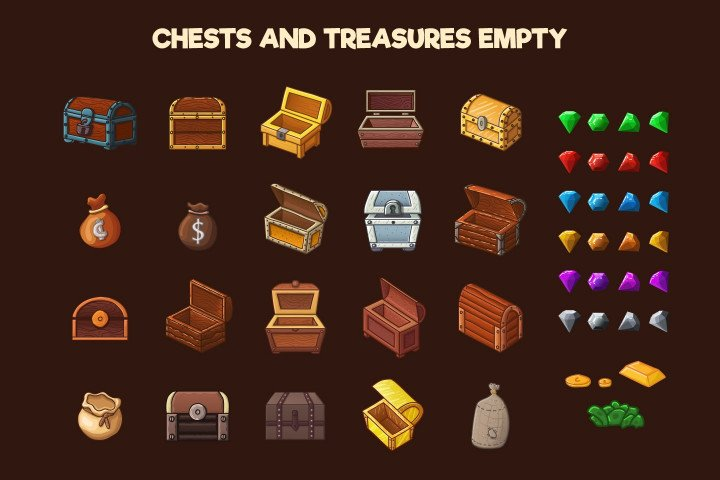 Chests-and-Treasures-2D- Game-Objects
