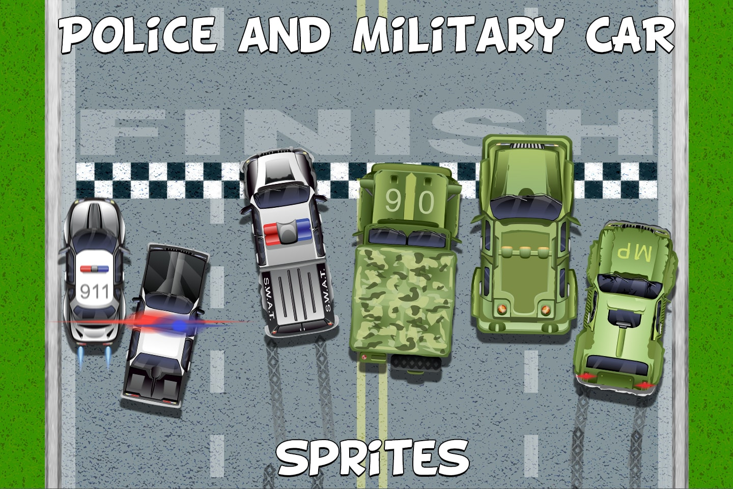 Top Down Police and Military Car Sprites