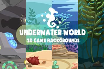 Underwater World 2D Game Backgrounds