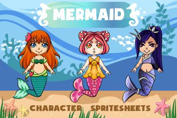 2D Mermaid Character Sprites