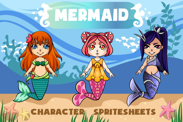 2D-Mermaid-Character-Sprites