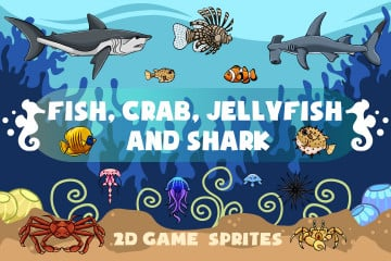 Fish, Crab, Jellyfish and Shark 2D Game Sprites