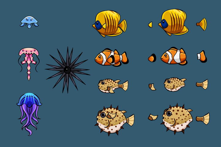 Fish-Crab-Jellyfish-and-Shark-2D-Game-Sprites