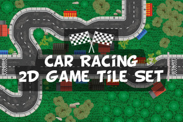 Free Race Track 2D Game Tile Set