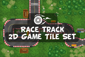 Race Track 2D Game Tile Set