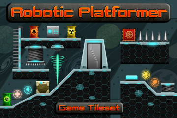Robotic Platformer Game Tileset