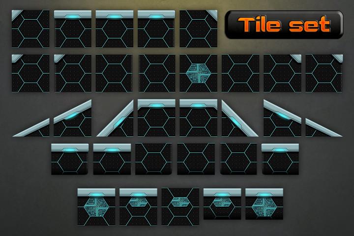 Robotic-Platformer-Game-Tileset