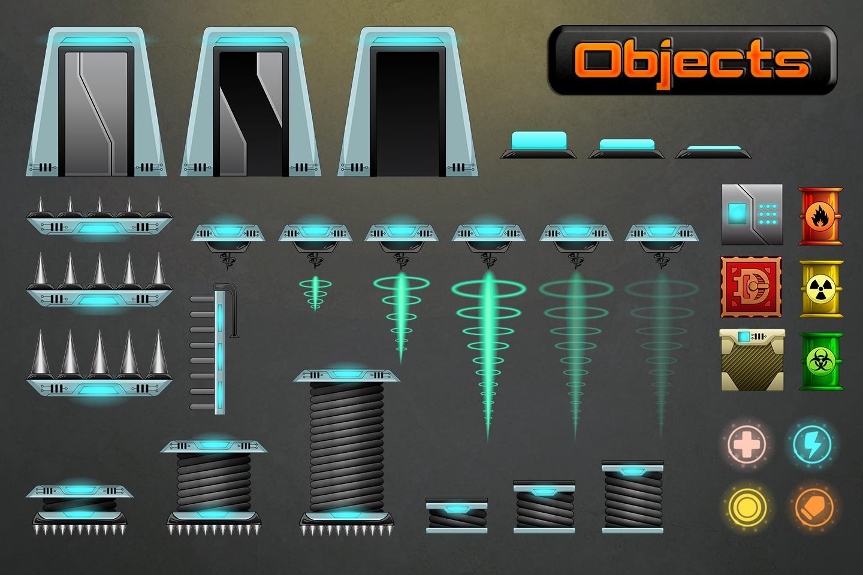 Robotic Platformer Game Tileset