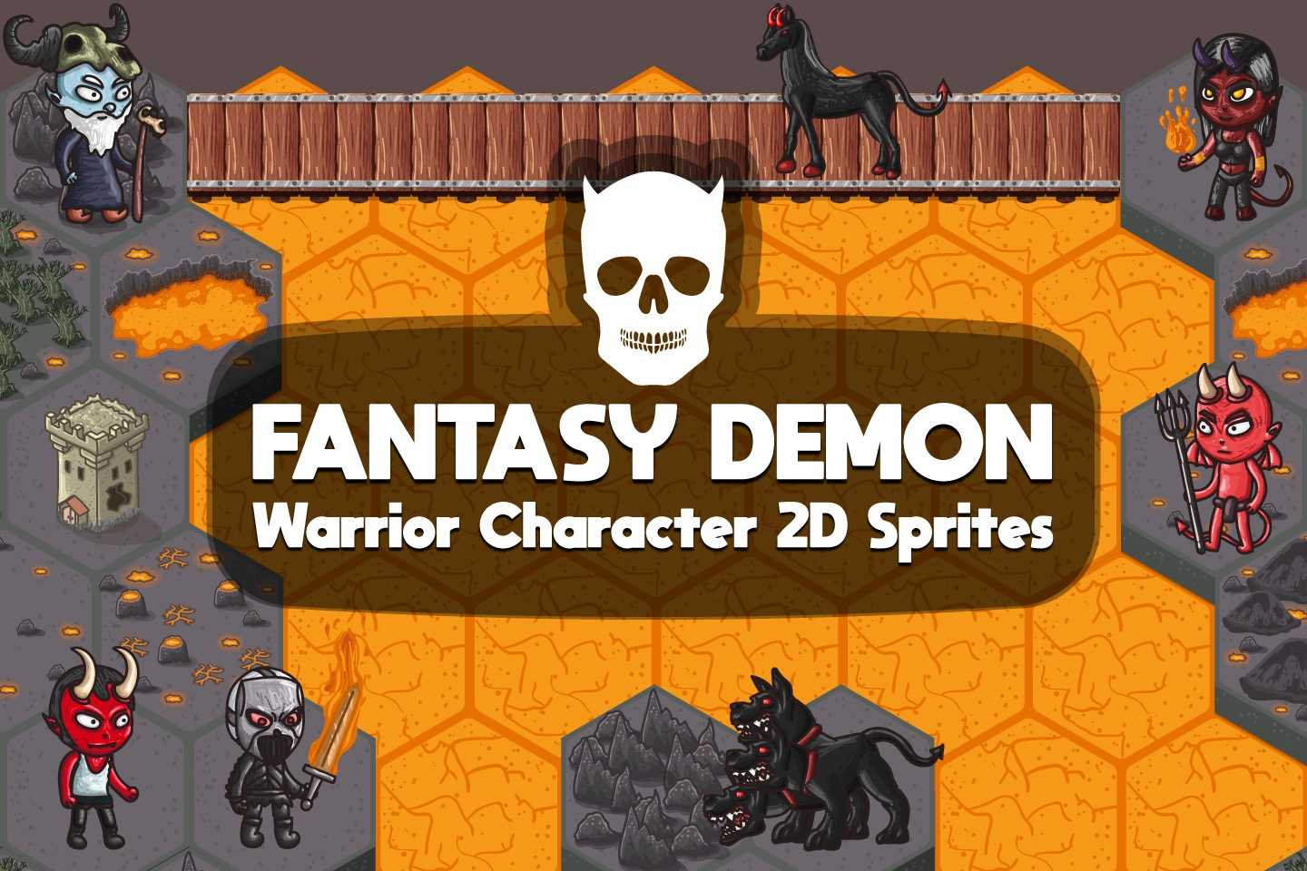 2D Fantasy Demon Warrior Character Sprites
