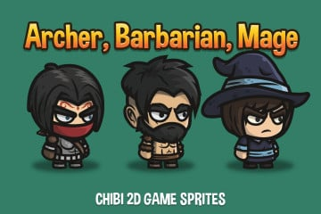 Archer, Barbarian, Mage Chibi 2D Game Sprites