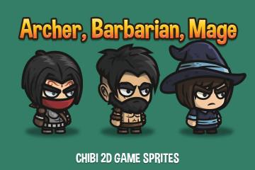 Archer, Barbarian, Mage Chibi 2D Game Sprites