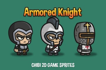 Armored Knight Chibi 2D Game Sprites