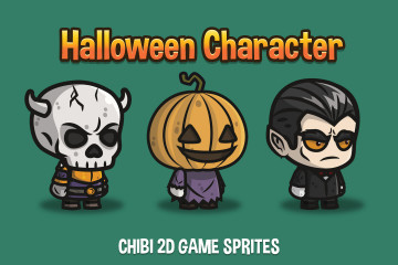 Halloween Character Chibi 2D Game Sprites
