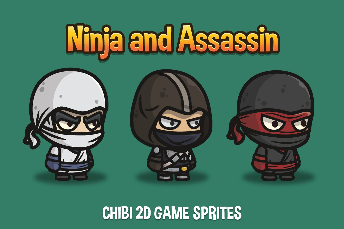 Ninja and Assassin Chibi 2D Game Sprites