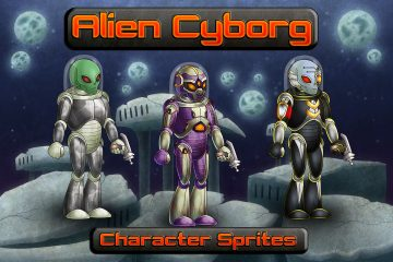 Alien Cyborg 2D Character Sprites