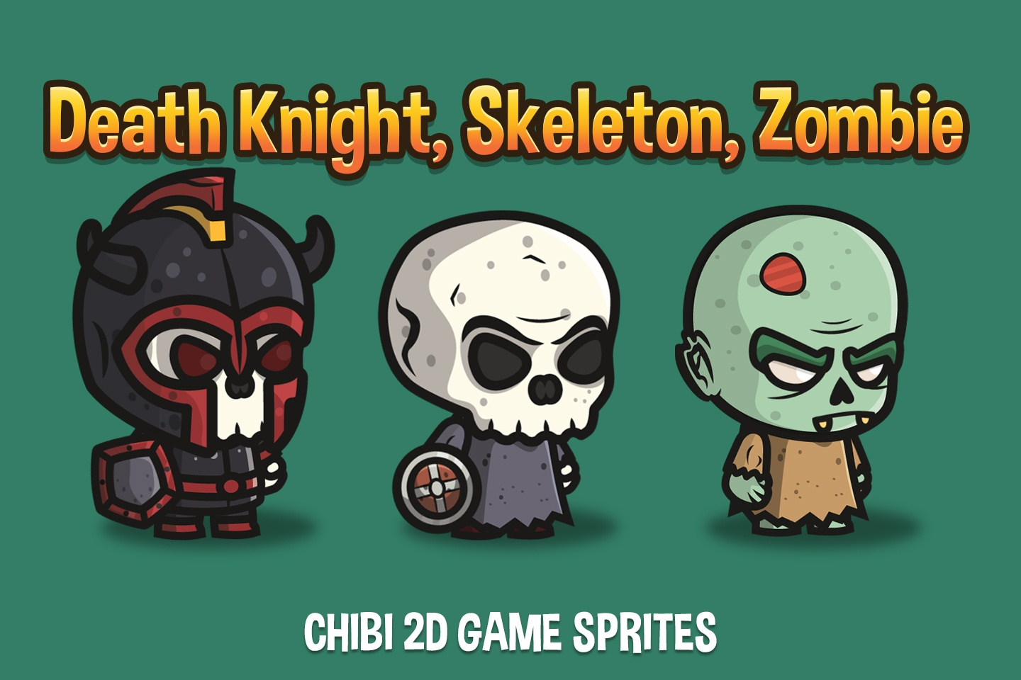 Death Knight, Skeleton, Zombie Chibi 2D Game Sprites