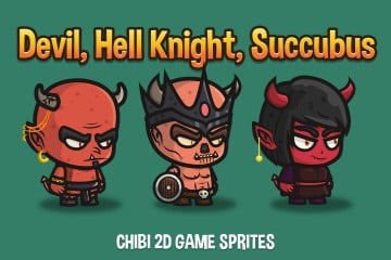Devil, Hell Knight, Succubus Chibi 2D Game Sprites