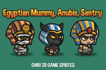 Egyptian Mummy, Anubis, Sentry Chibi 2D Game Sprites