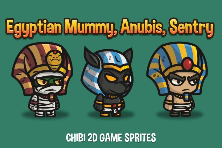 Egyptian-Mummy-Anubis-Sentry-Chibi-2D-Game-Sprites