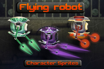 Flying Robot Character Sprites